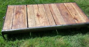 62 Vtg Industrial Rolling Factory Cart Coffee Table Refinished