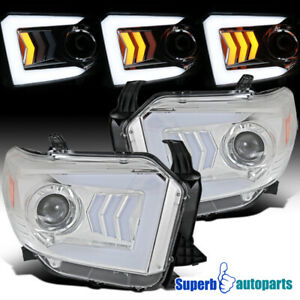 For 2014 2018 Toyota Tundra Sequential Signal Led Bar Projector Headlights