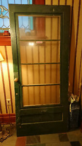 Antique Vintage Wood Glass Storm Door W Hardware 4 Panes Of Glass 34 1 2 X 80