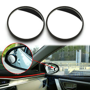 Pair 2 Car Round Stick On Framed Rear View Wide Angle Convex Blind Spot Mirrors