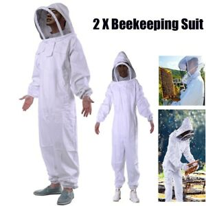 2x Beekeeping Jacket Veil Bee Keeping Suit Hat Pull Over Smock Protect Equipment