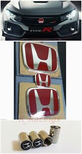 3pcs Front Rear Steeringwheel Red H Emblem Fit For 06 15 Honda Civic Sedan 4dr