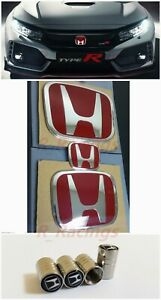 3pcs Jdm Red H Emblem Front Rear Steering Fit For 2016 18 Honda Civic Coupe 2dr