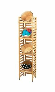 Basket Display Rack Shelf 4 Peck Store Merchandise Towel Holder Wooden Shelving