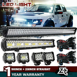 50inch Curved Led Light Bar 22 Inch 4 Cree Pods Offroad Suv 4wd Utv Vs 52 42 20
