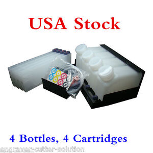Usa Roland Continuous Bulk Ink System For Mimaki Mutoh 4 Bottles 4 Cartridges