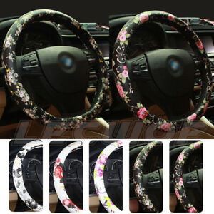 Car Steering Wheel Cover Pu Leather 15 37 38cm Flower For Women Girls Ladies