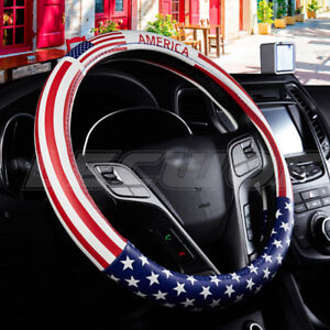Durable Pu Leather American Flag Car Steering Wheel Cover Auto 15 38cm Fit Blk