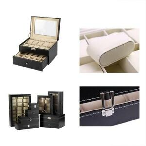 10 Slot grid Cabinets Cases 12 20 And 24 Watch Box Pu Leather Glass Top With