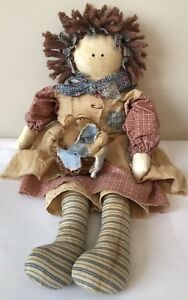 Primitive Country Folk Art Tea Stained Doll With Babies 19 Hand Made