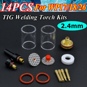 14x Tig Welding Torch Kits Stubby Gas Lens Glass Cupfor Wp17 18 26 2 4mm 3 32