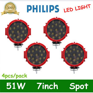 4x 7inch 51w Round Led Work Light Spot Offroad Fog Driving 4wd Boat Suv Atv Red