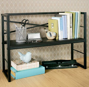 Desktop Book Shelf Storage Organizer Display Space Saver Rack Home Office Black