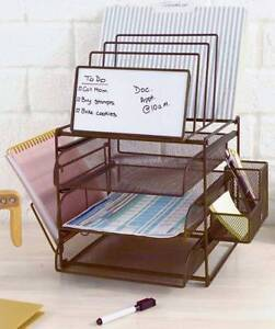 Desk Top Organizer With Dry Erase Board File Tray Paper Sorter Space Saver Bronz