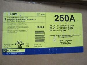 New In Box Square D J250s Circuit Breaker Enclosure Nema 1