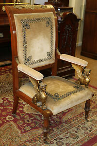 Gorgeous French Empire Carved Winged Angels Gilded American Throne Chair 1880s