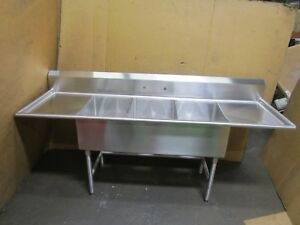 Select Stainless 7 84 x 26 3 Bay Compartment Sink 20 x 16 x 12 Deep Bowl