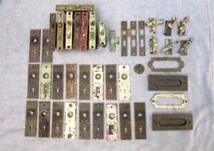 Antique Lot Arts Craft Eastlake Victorian Cast Brass Pocket Door Plate Pull Lock