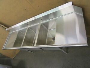Select Stainless 102 x30 Left Hand 3 Bowl Bay Soiled Dirty Dish Dishwasher Sink