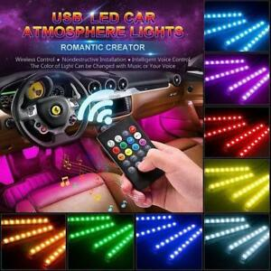 Car Led Strip Lights 4pcs Led Dc 12v Multi Color Car Interior Light Kit