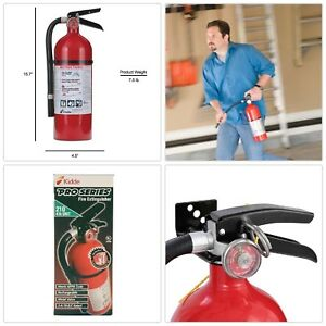 Rechargeable Fire Extinguisher W Mounting Bracket Class A B C Wall Mountable