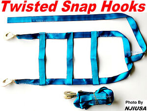 2x Car Dolly Wheel Net Tire Basket Tow Adjustable Straps Twisted Snap Hook Blue