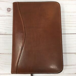 Scully Leather Italian Cognac Brown 6 Ring Zip Organizer Weekly Agenda Planner
