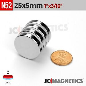 25 Mm X 5 Mm 1in X 3 16in N52 Super Strong Rare Earth Neodymium Magnet Disc