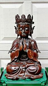 Antique 19c Chinese Bronze Copper Seated Quan Yin Statue
