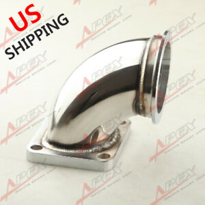 Stainless Steel 3 0 V Band T4 Turbo Exhaust 90 Degree Elbow Adapter Flange Us