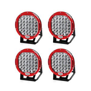 4pcs 96 W 9 Inch Round Led Spot Cree Driving Work Fog Light Off Road Truck Red