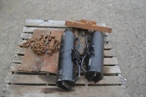 Lot Of 2 Hydraulic Utility Power Pole Pullers Cylinders 4 Plates And Chains
