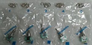 New Alcoswitch Mpa206r Dpdt On on Push Button Switch W hardware 5 Pcs