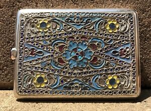 Antique Original Silver Russian Enamel 84 Hallmark Amazing Cigarette Case 1