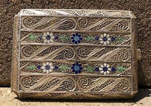 Antique Original Silver Russian Enamel Flowers 84 Hallmark Cigarette Case 3
