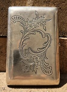 Antique Original Silver Russian 84 Hallmark Etched Engraved Cigarette Case 4
