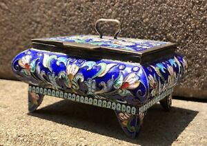 Antique Original Gilt Silver Russian Multi Color Enamel 84 Hallmark Box 5