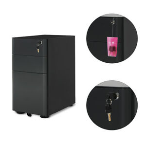 Orford 3 Drawers Metal Rolling File Storage Cabinet Office Furniture In Black