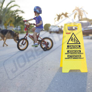 Caution Kids And Pets At Play Folding Safety Sign Warning Bright 2 Sided