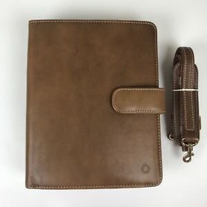 Brown Franklin Covey Classic Leather Shoulder Strap 7 ring Planner Organizer