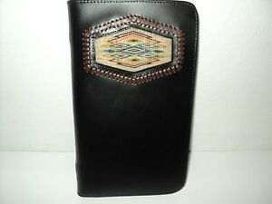 Royal Crown Custom Leather Black Daily Planner Hitched Horsehair 5 X 8 75