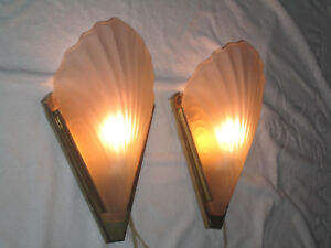 Art Deco Slip Shade Sconces With Shell Shades Marked Quoizel