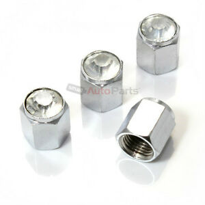 4 Car truck Bling Diamond Crystal Clear Chrome Tire wheel Air Stem Valve Caps