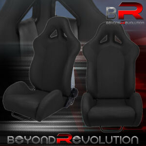 T r Style Black Cloth Fully Adjustable Reclinable Bucket Racing Seat Pair