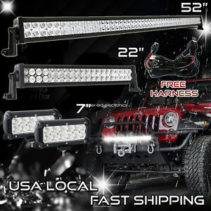 52inch 300w Led Off Road Light Bar Combo 22 7 Cree Pods Switch Jeep 52 20