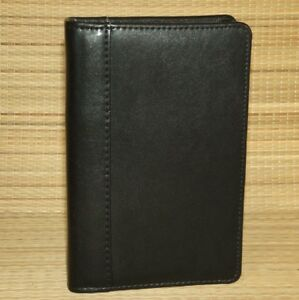 Franklin Covey Black Leather Pocket Planner Binder Open Six Rings 5 8
