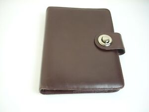 Franklin Covey Planner Brown Classic Full Grain Leather Binder Organizer Silver
