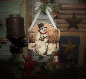 Primitive Antique Vtg Style Retro Christmas Holiday Winter Welcome Snowman Sign