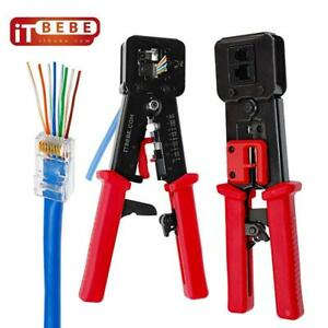Itbebe Rj45 Crimping Tool Made Of Hardened Steel With Wire Cutter Stripping