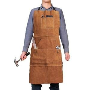 Leather Work Apron With 6 Tool Pockets By Qeelink Heat Flame Resistant